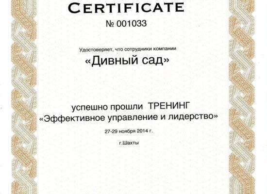 """Сертификат тренинга """"Эффективное управление и лидерство"""""""